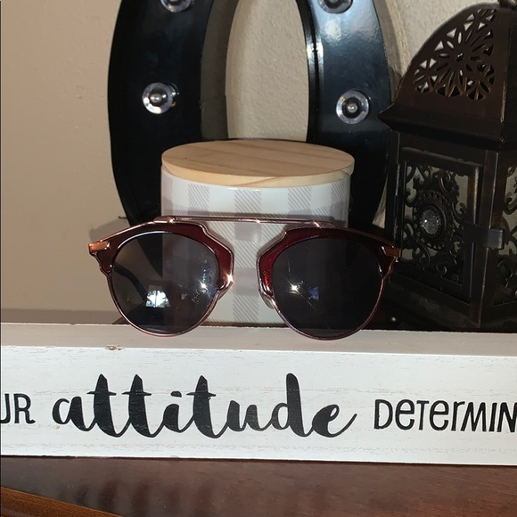 Free People gold trim redish geometric sunglasses